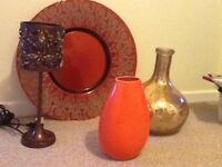 Orange themed ornaments and lamp