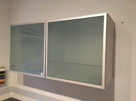 Wall shelving unit -glass fronted. Excellent condition