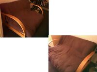 SOLID WOOD DOUBLE SOFA BED WITH COMFORTABLE CUSHION BED SEE DETAILS BELOW