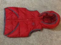 Boys red Benetton hooded body warmer - size 3-4 years
