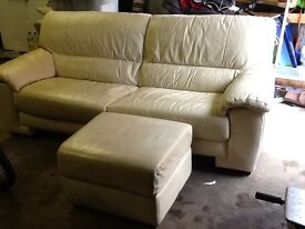 Cream Leather Sofa and Footstool