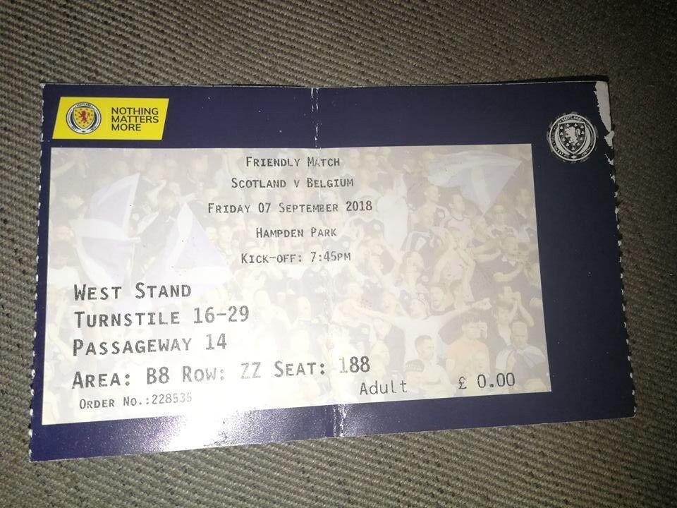 Ticket : Scotland - Belgium 07-09-2018 Amical Nations League 2018-2019