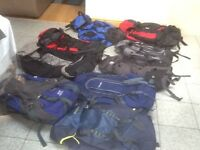 Large rucksacks lightly used 50 to 85litre capacity-several makes/brands- from £35 upto £45each