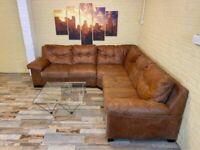 African Hide Rustic Tan Leather Corner Sofa
