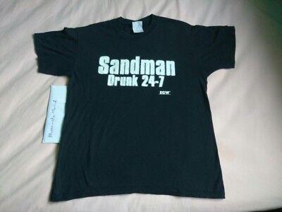 Vintage Original ECW Sandman Drunk 24-7 Shirt XL Black WCW WWE Hardcore Hak CZW