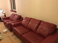 Red Leather Suite, 3 seater + 2 seater