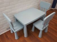 Pale Blue Children's table x 3 chairs/Good Condition