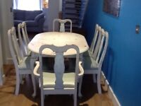 Shabby chic table and 6 chairs