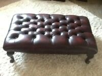 Oxblood leather Chesterfield footstool