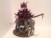 Warhammer: Lord of the Rings Mumakil with 12 Haradrim figures (fully painted)