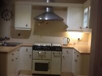 Schreiber cream shaker style kitchen with range cooker, s/s extractor and sink