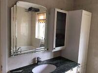 Bathroom units, base=100 x 60cm, tall unit= 200 x 45cm, marble 127 x 60cm, glass unit = 45 x 90cm