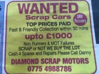 WANTED SCRAP CARS TOP PRICE PAID - FAST COLLECTION
