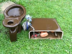 Brown close coupling s trap toilet
