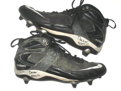 0caedce33 DEON NORRIS NORFOLK STATE SPARTANS GAME WORN & SIGNED BLACK & WHITE NIKE  CLEATS