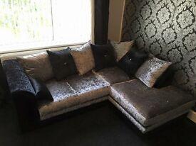 Crushed velvet corner settee