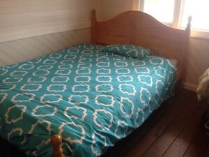 Queen size pine wood bed and mattress- sturdy wooden Mayfield East Newcastle Area Preview