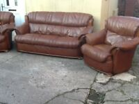 Leather 3 piece suite 3 seater 2 chairs high back for comfort lovely condition £350 CAN DELIVER