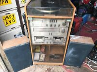Retro amstrad hifi 1970s with speakers
