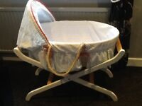 Mother care Moses basket with stand and sheets