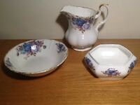 3x Royal Albert Moonlight Rose dinner ware pieces