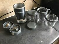 Nutribullet with 3 cups with lids and cup handles, two blades