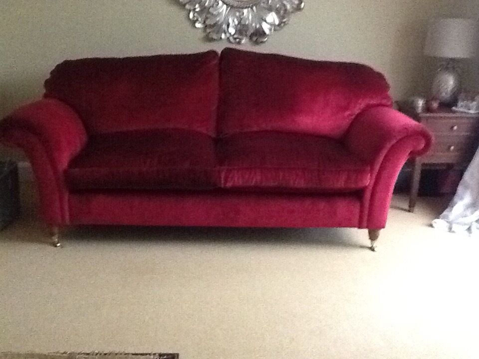 Laura Ashley Mortimer Red Crush Velvet Sofa Excellent