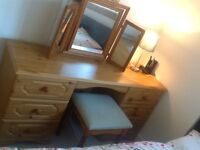 Dressing table, 6 drawers, mirror and stool
