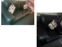BLACK LEATHER 3 SEATER AND MATCHING CHAIR FROM DFS ULTIMATE COMFORT AND VERY MODERN DESIGN