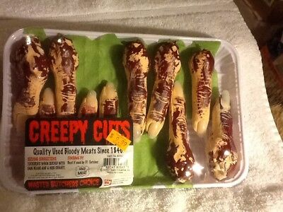 Halloween Accessories - Creepy Cuts - Food Tray of Meaty Fingers - 70% off sale  - Halloween Cut Fingers