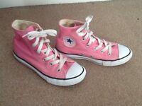 Converse All Stars pink hi tops. Size 1