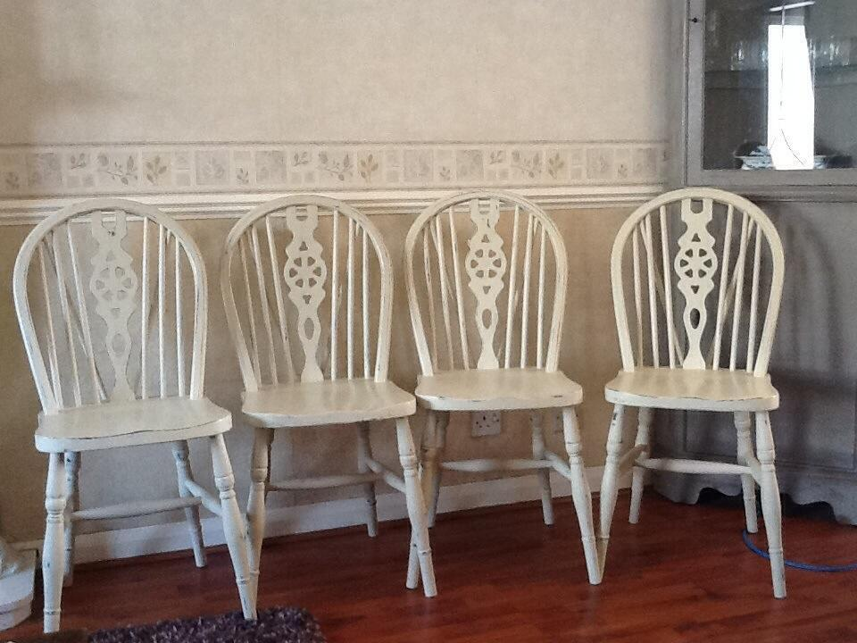 4 Shabby Chic Dining Chairs Painted In Annie Sloan Ochre Paint Cream Uni