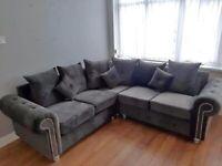 Original Plush Velvet ASHWIN Corner or 3+2 Sofa Set Available in Colours