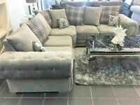 UNBEATABLE PRICES ON VERONA CHESTERFIELD GREY PLUSH FABRIC 3+2 SOFA SUITE AND CORNER UNIT ON SALE!!