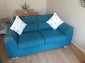 2X TWO SEAT SOFAS (BLUE) AND ACCESSORIES INCLUDED.