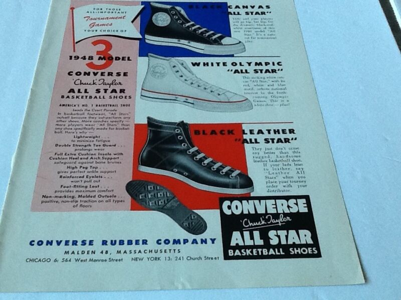 1948 CONVERSE all star basketball Chuck Taylor Shoes Vintage magazine Print AD