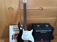 Electric Raptor Guitar and Amplifier. Black and white