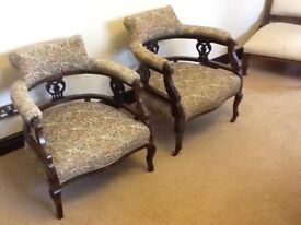 Pair Victorian Tub Chairs for minor restoration