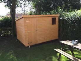 9x6 PENT ROOF SHED HEAVY DUTY T&G £504 ANY SIZE AVAILABLE (FREE DELIVERY AND INSTAL)