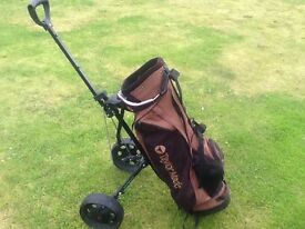 Taylor made golf bag with trolley in good condition.
