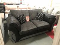 DFS Charcoal grey and black fabric sofa bed
