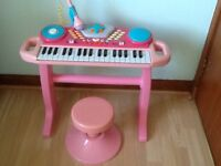 Pink toy keyboard with microphone