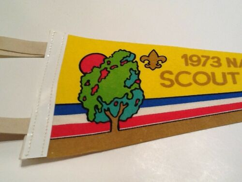 """PENNANT  12  inches - """" 1973 NATIONAL JAMBOREE """" - Boy Scout BSA A132/6-19"""
