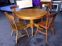 Solid Pine Round Dining Table and 4 Chairs