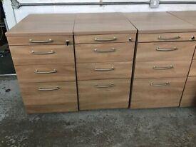 Under Desk Wooden Pedestal Filing Cabinets with Key