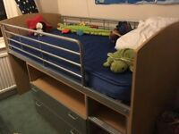 Mid sleeper/cabin bed with drawers and mattress