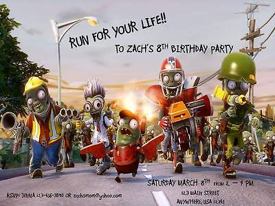 Personalized Plants Vs Zombies Custom Birthday Invitation Style A