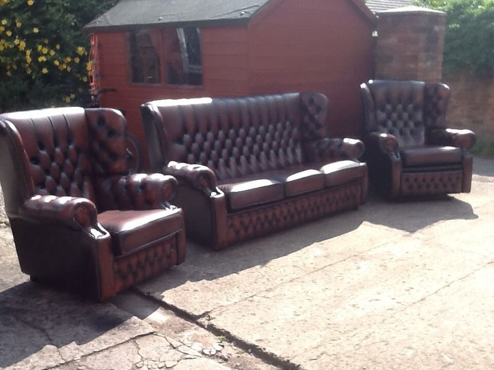 Leather chesterfield 3 piece suite 3 seater 2 chairs immaculate condition high back wing back ...