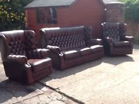Leather chesterfield 3 piece suite 3 seater 2 chairs immaculate condition high back wing back CANDEL