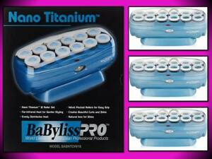 BABYLISS PRO NANO TITANIUM 12 PIECE VELVET GRIP HAIR ROLLER CURLERS BABNTCHV15